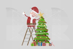 3d illustration. Santa decorating.