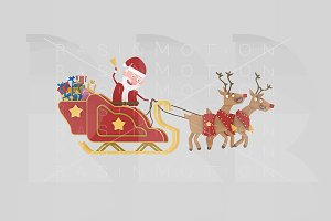 3d illustration. Santa and sleigh.