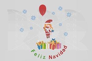 3d illustration. Feliz Navidad Card.