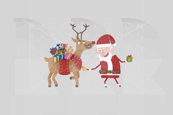3D Illustration Santa And Reindeer