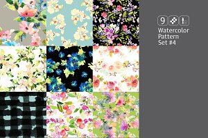 9 watercolor seamless patterns #4