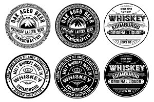 Set of Whiskey and Beer Labels