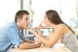 man looking at cleavage