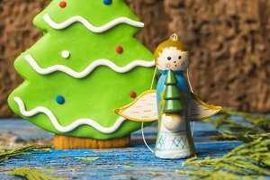 Cute Angel and tree Christmas card