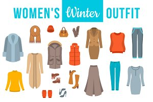 Women winter clothes flat icons