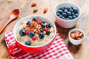 Healthy breakfast, oatmeal porridge