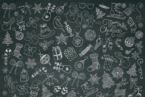 Christmas Chalk Doodle Icons. PNG