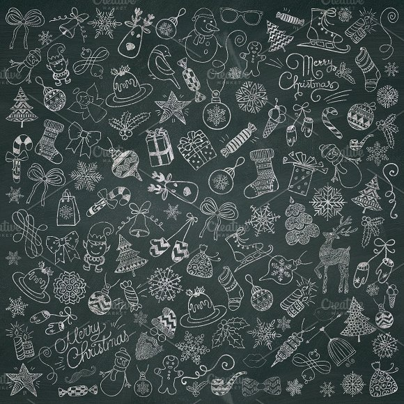 Christmas Chalk Doodle Icons PNG