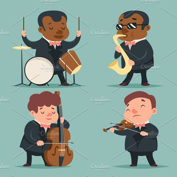 Cartoon Character Design Templates : Music artist illustrations on creative market