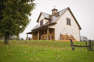 Fall Barn with Pumpkins