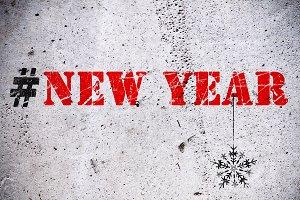 New Year hashtag illustration