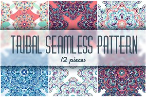 12 tribal ornament seamless pattern