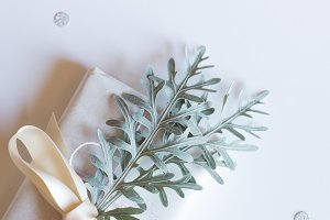 Pinecone &Gift Christmas Stock Photo