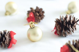 Red & Gold Pinecone Christmas Photo