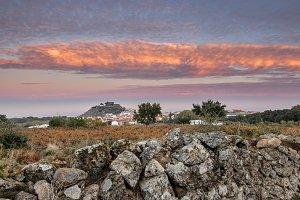 Dawn on the castle of Montanchez
