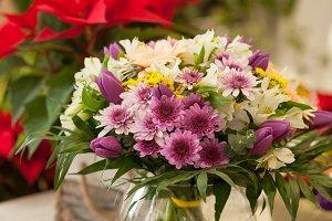 Flowers bouquet in flower shop