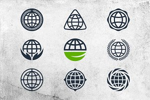 Earth icons and logo elements