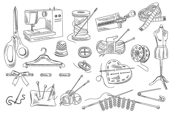 Sewing Accessories Hand Drawn