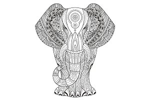 Ornated Elephant Zentangle style