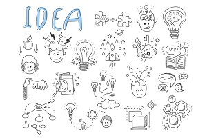 Idea, brainstorming icons