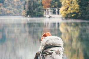 Traveler backpacker hiking
