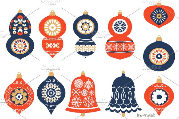 Christmas Ornaments In Blue And Red