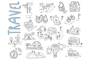 Travel, camping icons in Doodle
