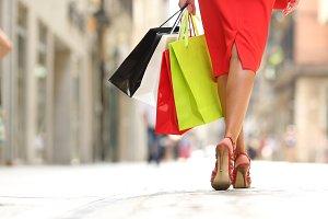 Back view of a fashion shopper