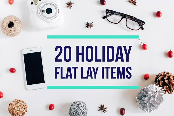 20 Holiday flat lay items collectio…