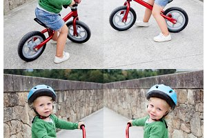 Little kid riding his bike