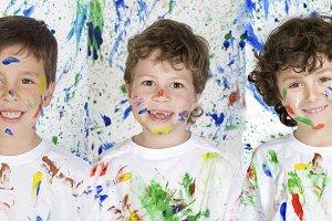 Three painted children