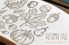 Autumn hand drawn set