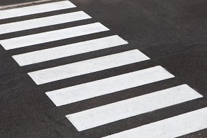 White stripes crossing on the road