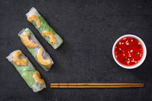 Vietnamese rolls with vegetables