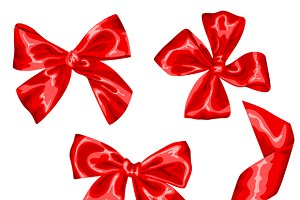 Red satin gift bows and ribbons