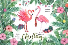 Watercolor Tropical Christmas