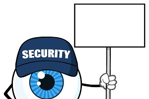 Blue Eyeball Holding Up A Blank Sign