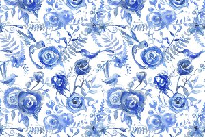 Watercolor blue floral pattern