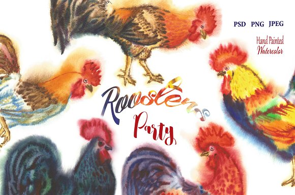 Watercolor Roosters