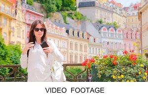 Woman sending message taking selfie