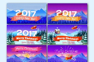 Artistic Christmas Cards Set