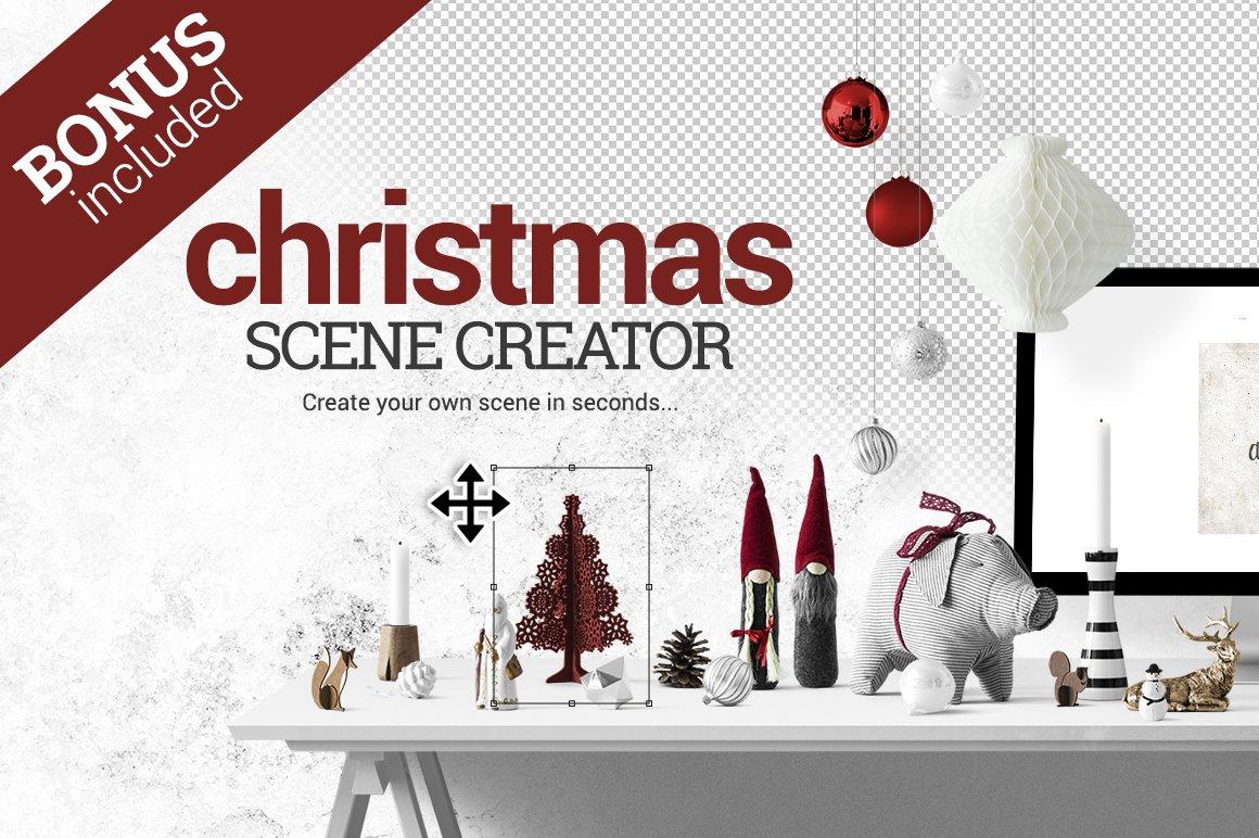 Christmas Scene Creator + BONUS ~ Product Mockups ~ Creative Market