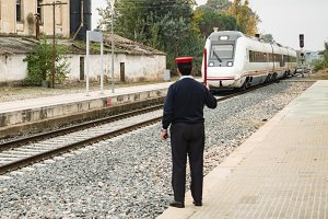 Station boss controlling railway