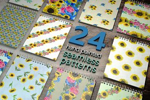 24 hand painted seamless patterns 4