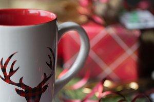 Buffalo Check Reindeer Mug & Tags