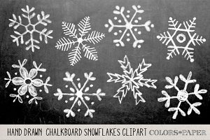 Hand Drawn Chalky Snowflake Clipart