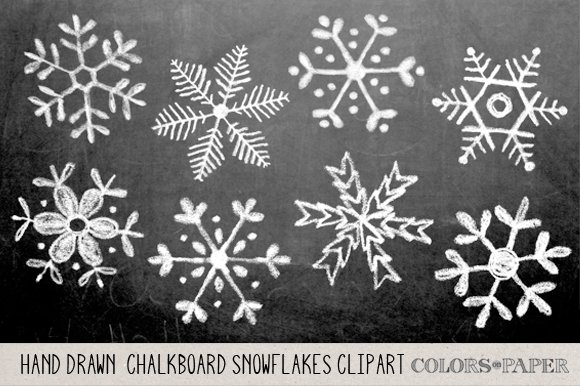 Hand drawn chalky snowflake clipart illustrations