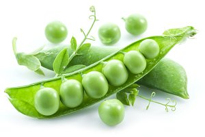 Open pea pod on a white