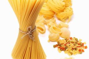Variations of italian macaroni isolated on white background.