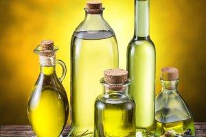 Glass bottles of olive oil